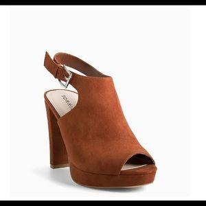 TORRID | faux suede peep toe platform heels wide